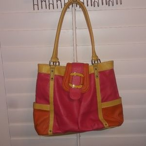 apt.9 handbag yellow,pink & orange in color